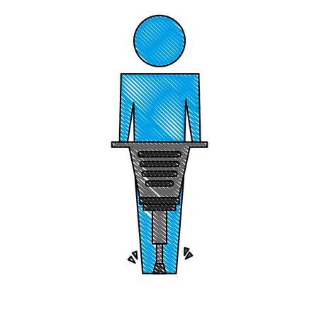 man pictogram working jackhammer equipment vector illustration