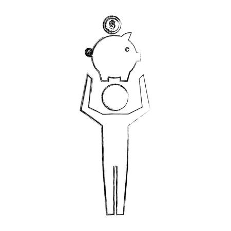 Pictograma de hombre sosteniendo hucha con ilustración de vector de moneda dibujo a mano