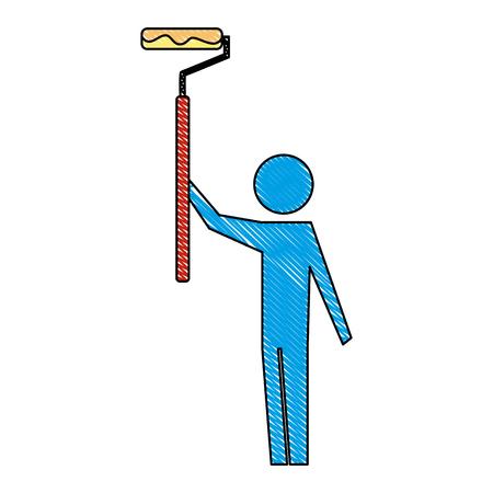 man pictogram holding roller paint repair tool vector illustration Reklamní fotografie - 110420372