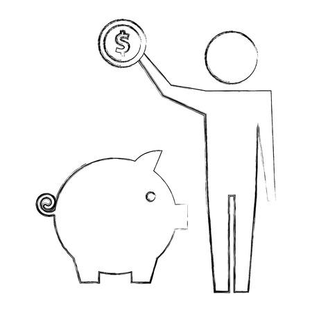 Homme tenant une pièce d'un dollar avec tirelire pictogramme vector illustration dessin à la main