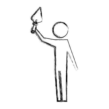 man pictogram holding trowel construction tool vector illustration hand drawing