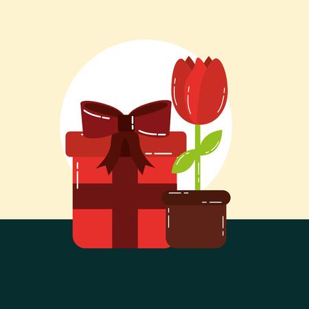 valentines day love gift box suprise rose vector illustration