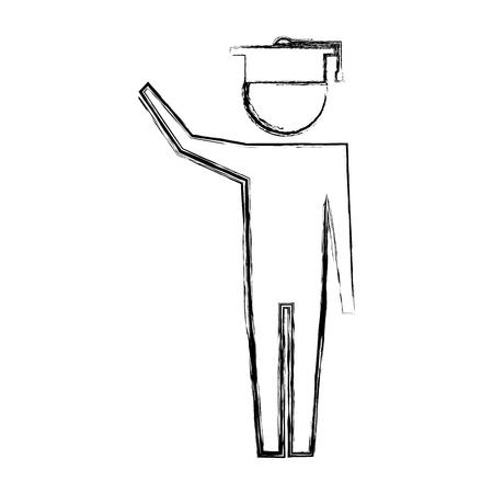 man pictogram with graduation hat education vector illustration hand drawing  イラスト・ベクター素材