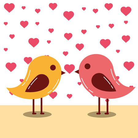 valentines day love hearts birds colors kissing vector illustration