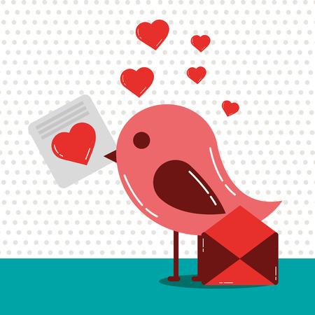valentines day bird holding love letter hearts vector illustration Illustration