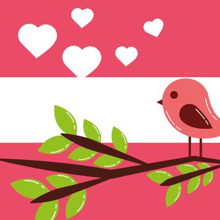 valentines day love bird on tree branch hearts vector illustration