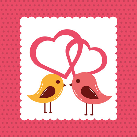 valentines day love birds kissing hearts romantic feelings vector illustration Reklamní fotografie - 110420407