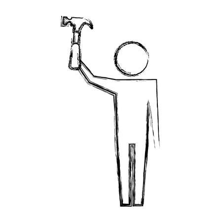 man pictogram holding hammer tool repair vector illustration hand drawing Illustration