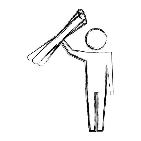 man pictogram worker with blueprints work vector illustration hand drawing Illustration