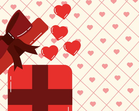valentines day love gift box suprise romantic hearts background vector illustration