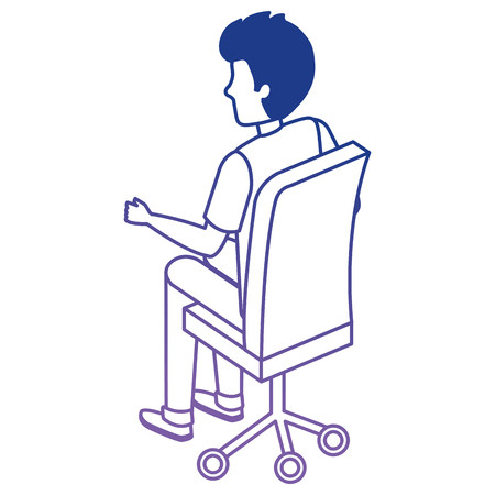 young man sitting in office chair vector illustration design