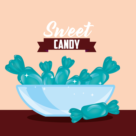 sweet candy ribbon sign caramels plate vector illustration