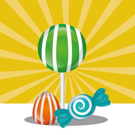 sweet candy lollipop almond mint caramel vector illustration Illustration