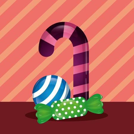 sweet candy cane mint ball green caramel vector illustration Illustration