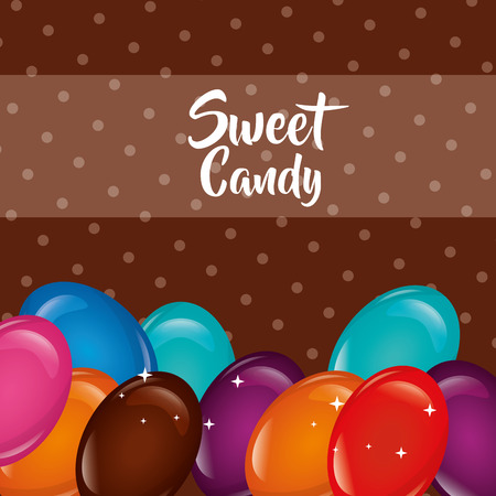 sweet candy flavors almonds sign dotted background vector illustration