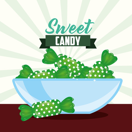 sweet candy deep plate caramels ribbon sign vector illustration