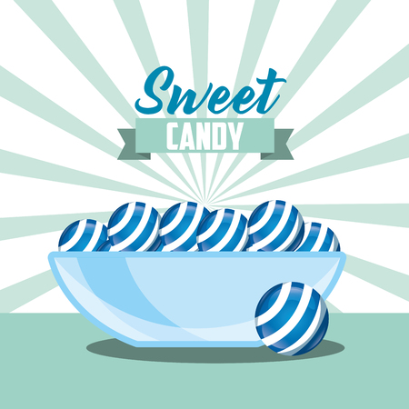 sweet candy caramels mint ribbon sign background vector illustration