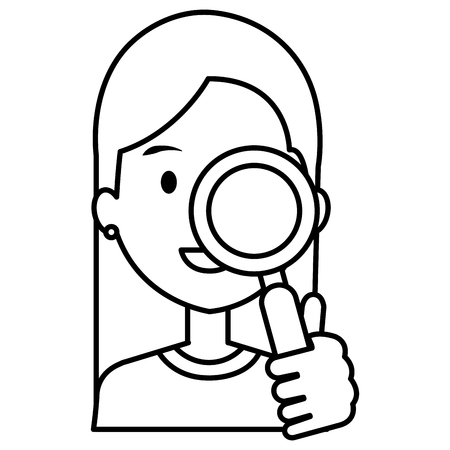 woman with search magnifying glass vector illustration design