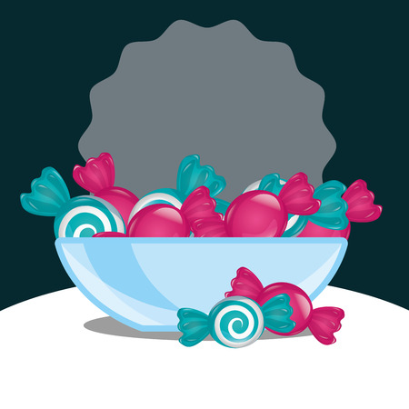 sweet candy sticker plate mint strawberry caramels vector illustration Illustration