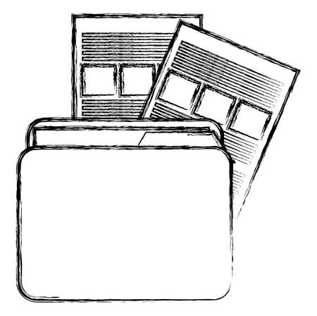 file folder with documents vector illustration design Illustration