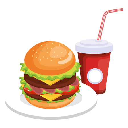 delicious burger with soda vector illustration design