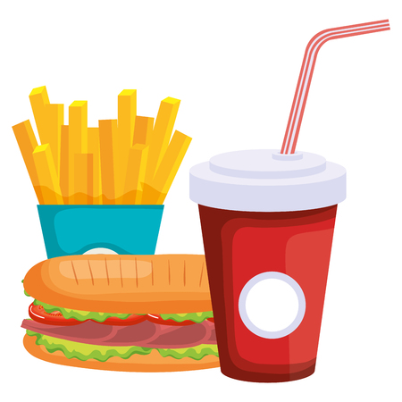 sandwish with french fries and soda vector illustration design
