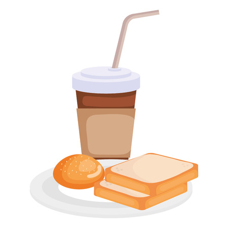 coffee drink with bread vector illustration design