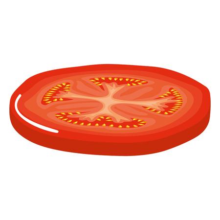 fresh tomato slice healthy food vector illustration design