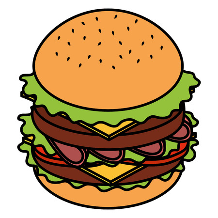delicious burger fast food vector illustration design  イラスト・ベクター素材