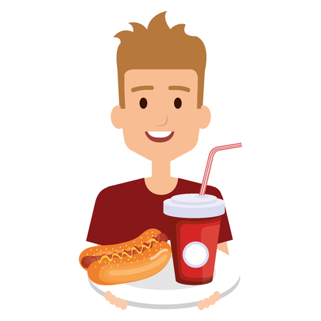 man with delicious hot dog and soda vector illustration design