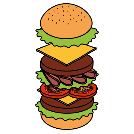 delicious burger fast food vector illustration design Illustration