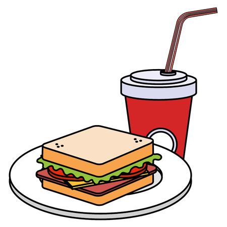 delicious sandwish and soda vector illustration design Ilustração