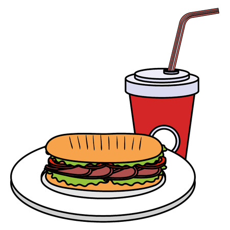 delicious sandwish and soda vector illustration design 일러스트