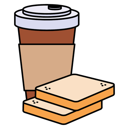 coffee drink with bread toast vector illustration design Illustration