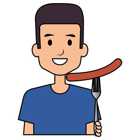 delicious sausage fast food vector illustration design