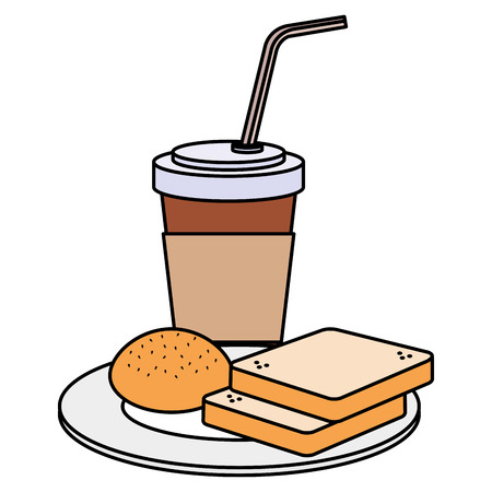 coffee drink with bread vector illustration design Stok Fotoğraf - 110421948