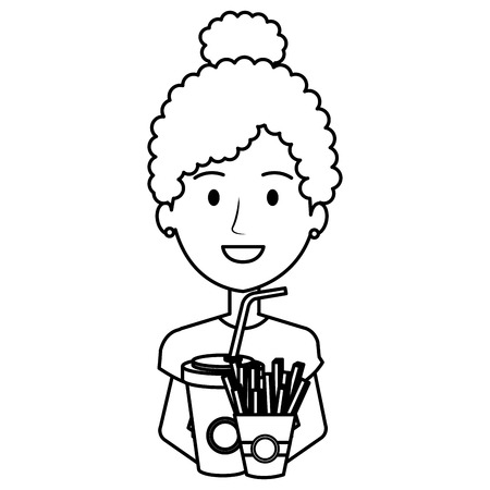 woman with delicious french fries and soda vector illustration design
