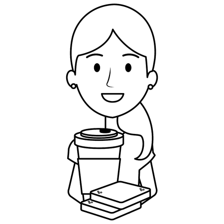 woman with coffee drink and bread vector illustration design