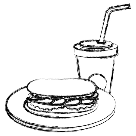 delicious sandwich and soda vector illustration design 일러스트