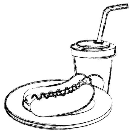 delicious hot dog and soda vector illustration design 向量圖像