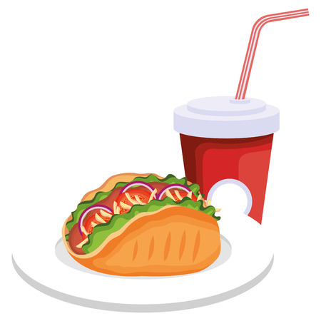 delicious mexican taco with soda vector illustration design Illustration