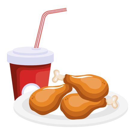 dish with chicken thighs and soda vector illustration design