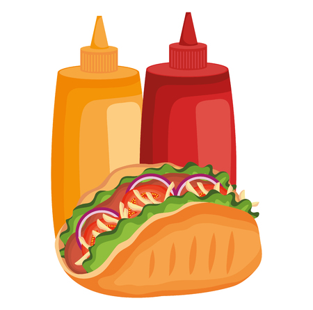 delicious mexican taco with sauces bottles vector illustration design