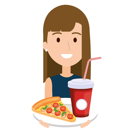 woman with italian pizza and soda vector illustration design