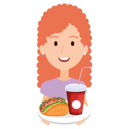 woman with mexican taco and soda vector illustration design Ilustração