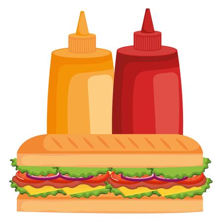 delicious sandwish with sauces bottles vector illustration design Illustration