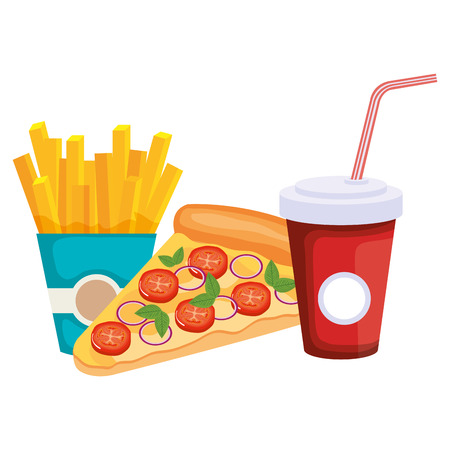 italian pizza with soda and french fries vector illustration design