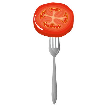 fresh tomato slice in fork vector illustration design Archivio Fotografico - 110422066