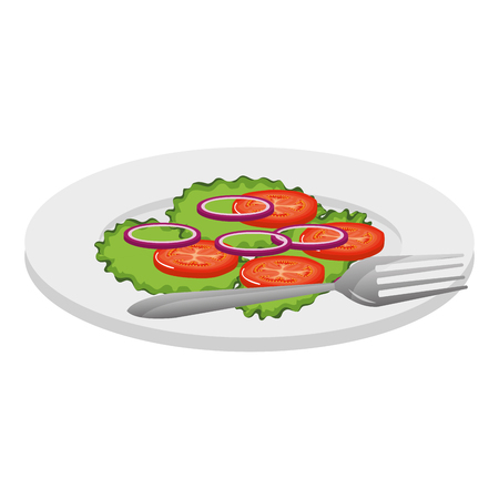 dish with vegetables and fork vector illustration design Standard-Bild - 110422067