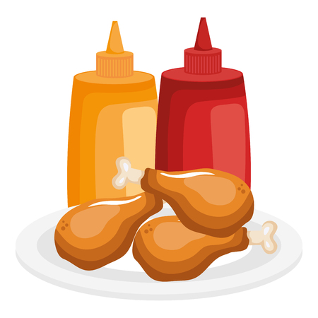 dish with chicken thighs and sauces bottles vector illustration design Иллюстрация